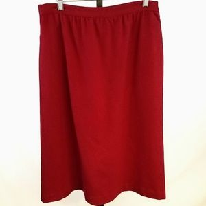 Vintage Ashley Red Wool Pencil Skirt Sz:16